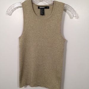 DKNY Rare Gold Knit Sleeveless Top Size Petite